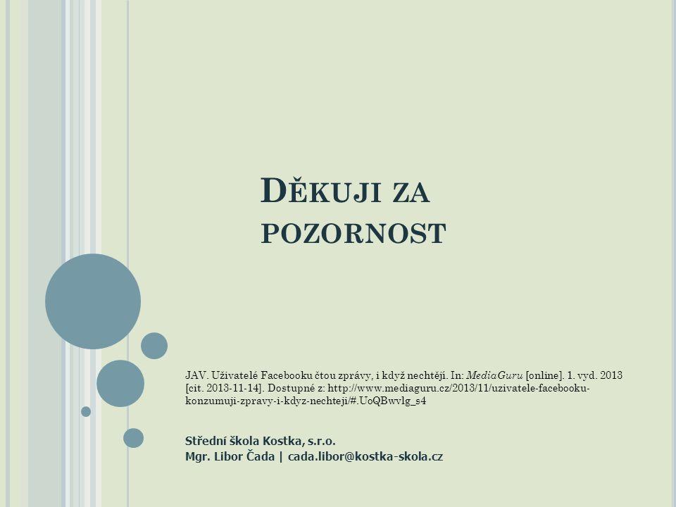 D ĚKUJI ZA POZORNOST Střední škola Kostka, s.r.o. Mgr.