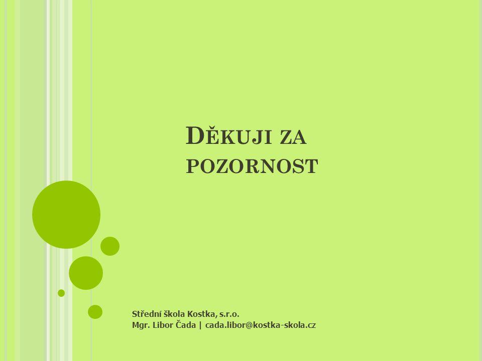 D ĚKUJI ZA POZORNOST Střední škola Kostka, s.r.o. Mgr. Libor Čada   cada.libor@kostka-skola.cz