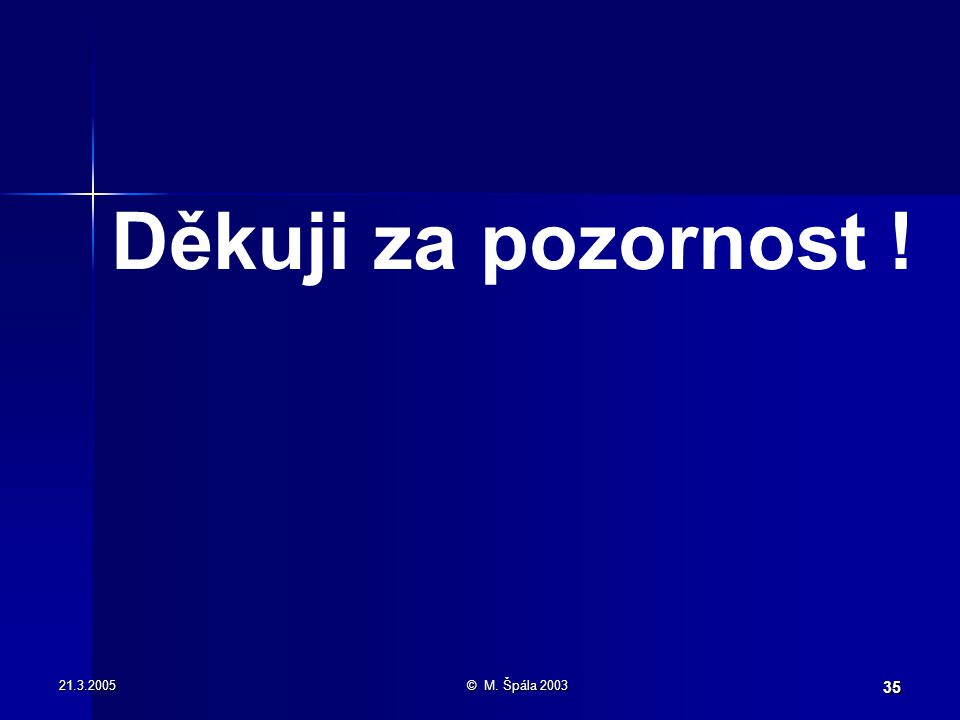 21.3.2005© M. Špála 2003 35 Děkuji za pozornost !