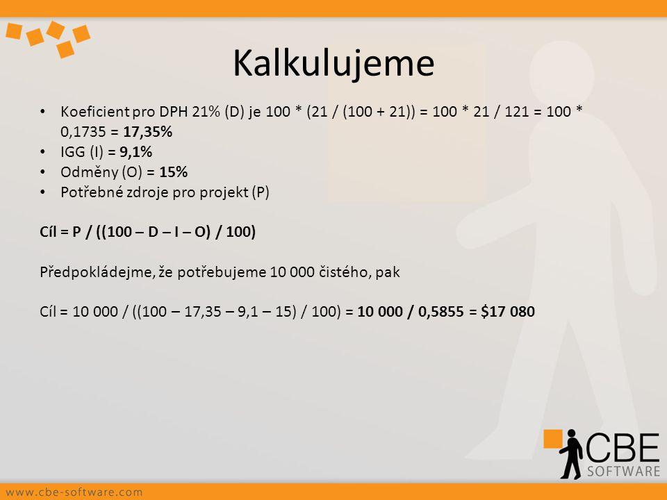 Kalkulujeme Koeficient pro DPH 21% (D) je 100 * (21 / (100 + 21)) = 100 * 21 / 121 = 100 * 0,1735 = 17,35% IGG (I) = 9,1% Odměny (O) = 15% Potřebné zd