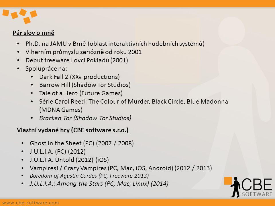 Pár slov o mně Ph.D. na JAMU v Brně (oblast interaktivních hudebních systémů) V herním průmyslu seriózně od roku 2001 Debut freeware Lovci Pokladů (20