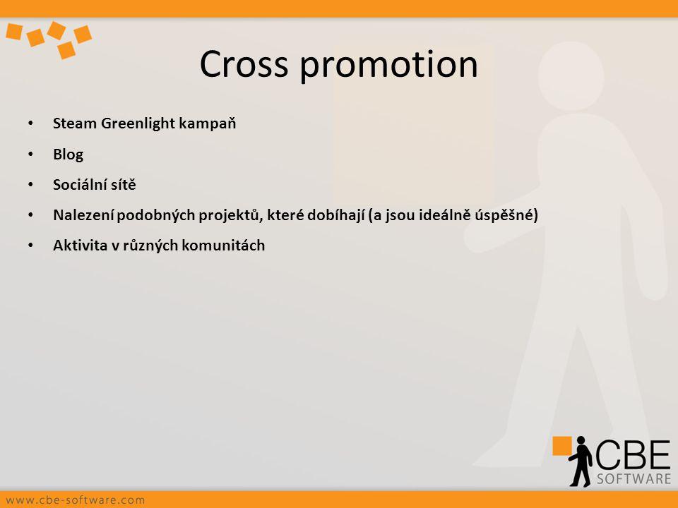 Cross promotion Steam Greenlight kampaň Blog Sociální sítě Nalezení podobných projektů, které dobíhají (a jsou ideálně úspěšné) Aktivita v různých kom