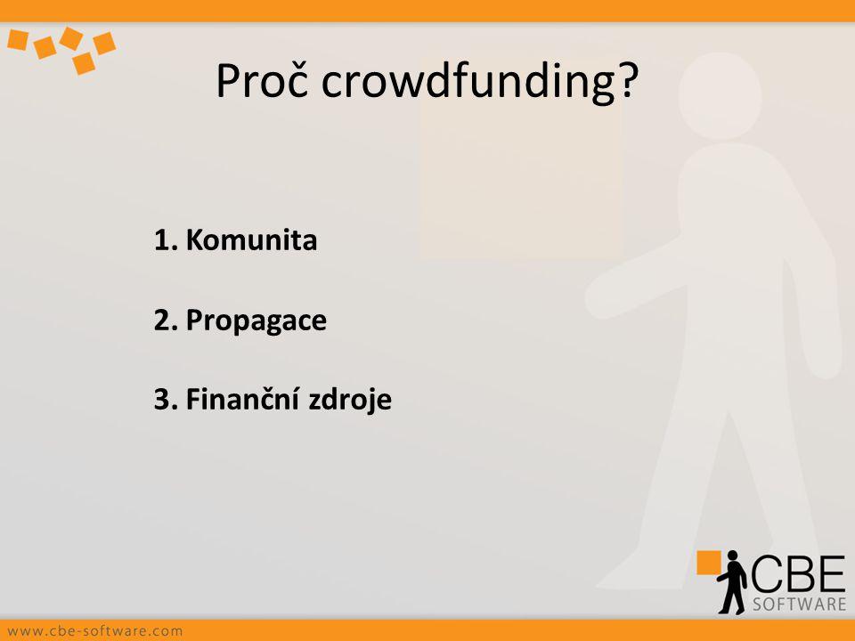 Proč crowdfunding? 1.Komunita 2.Propagace 3.Finanční zdroje