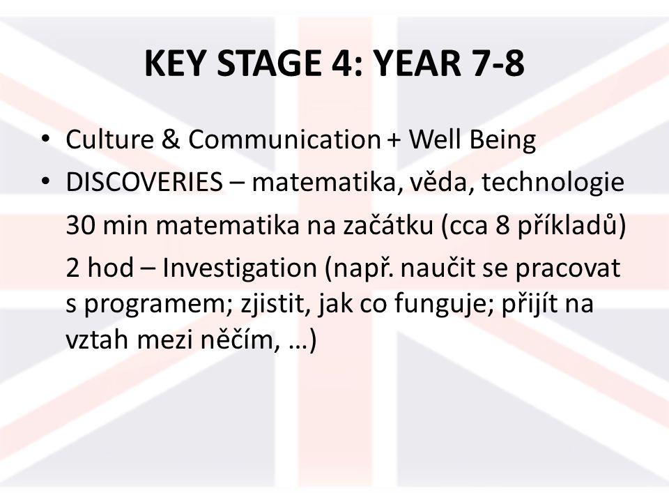 KEY STAGE 4: YEAR 7-8 Culture & Communication + Well Being DISCOVERIES – matematika, věda, technologie 30 min matematika na začátku (cca 8 příkladů) 2 hod – Investigation (např.