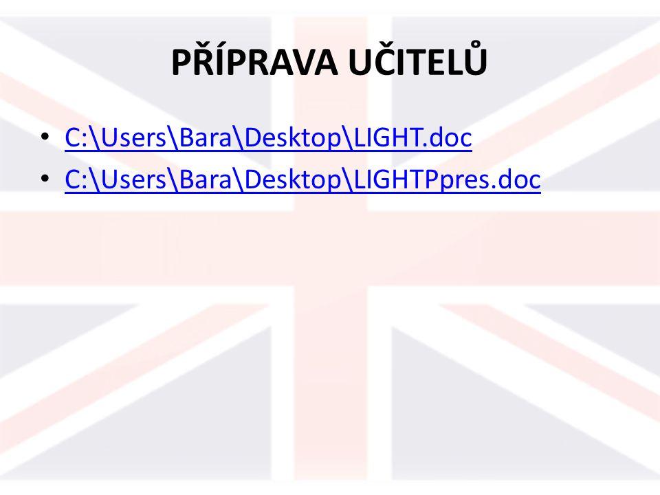PŘÍPRAVA UČITELŮ C:\Users\Bara\Desktop\LIGHT.doc C:\Users\Bara\Desktop\LIGHTPpres.doc