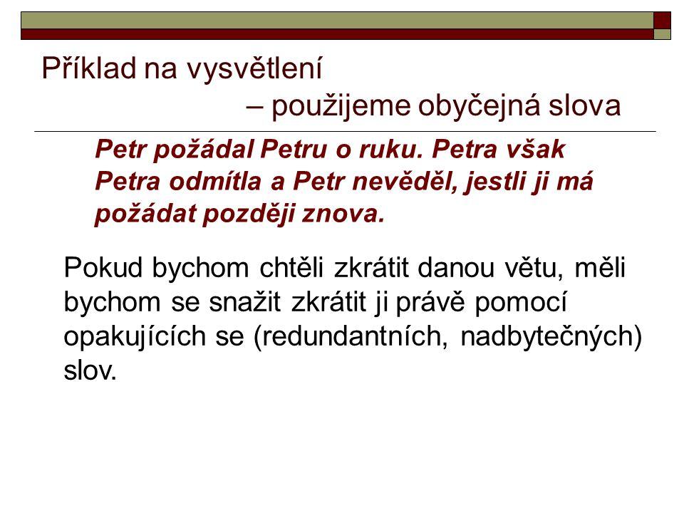 Příklad na vysvětlení – použijeme obyčejná slova Petr požádal Petru o ruku.