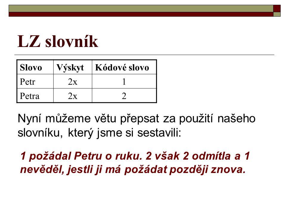 LZ slovník SlovoVýskytKódové slovo Petr2x1 Petra2x2 1 požádal Petru o ruku.