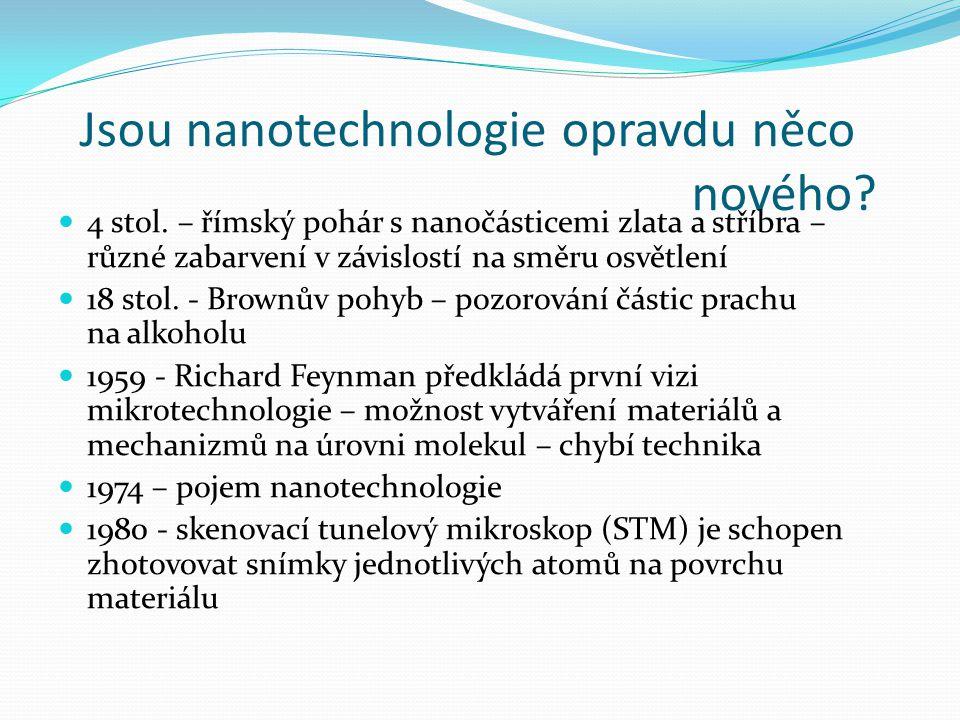 Jsou nanotechnologie opravdu něco nového? 4 stol. – římský pohár s nanočásticemi zlata a stříbra – různé zabarvení v závislostí na směru osvětlení 18