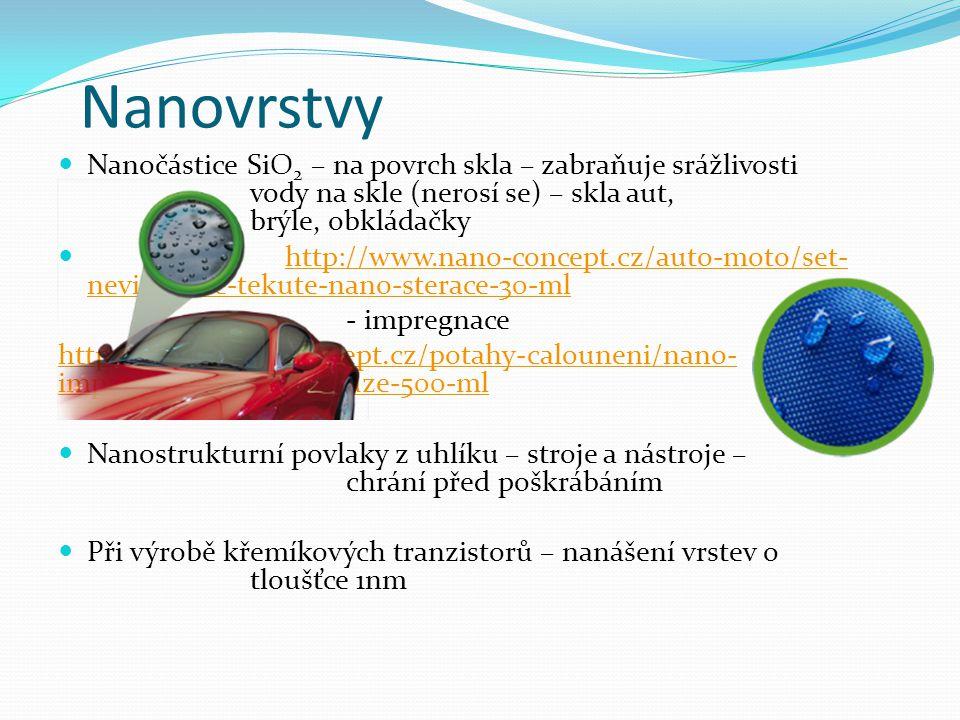 Nanovrstvy Nanočástice SiO 2 – na povrch skla – zabraňuje srážlivosti vody na skle (nerosí se) – skla aut, brýle, obkládačky http://www.nano-concept.c
