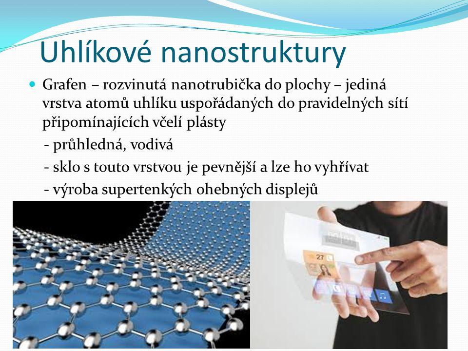 Uhlíkové nanostruktury Grafen – rozvinutá nanotrubička do plochy – jediná vrstva atomů uhlíku uspořádaných do pravidelných sítí připomínajících včelí