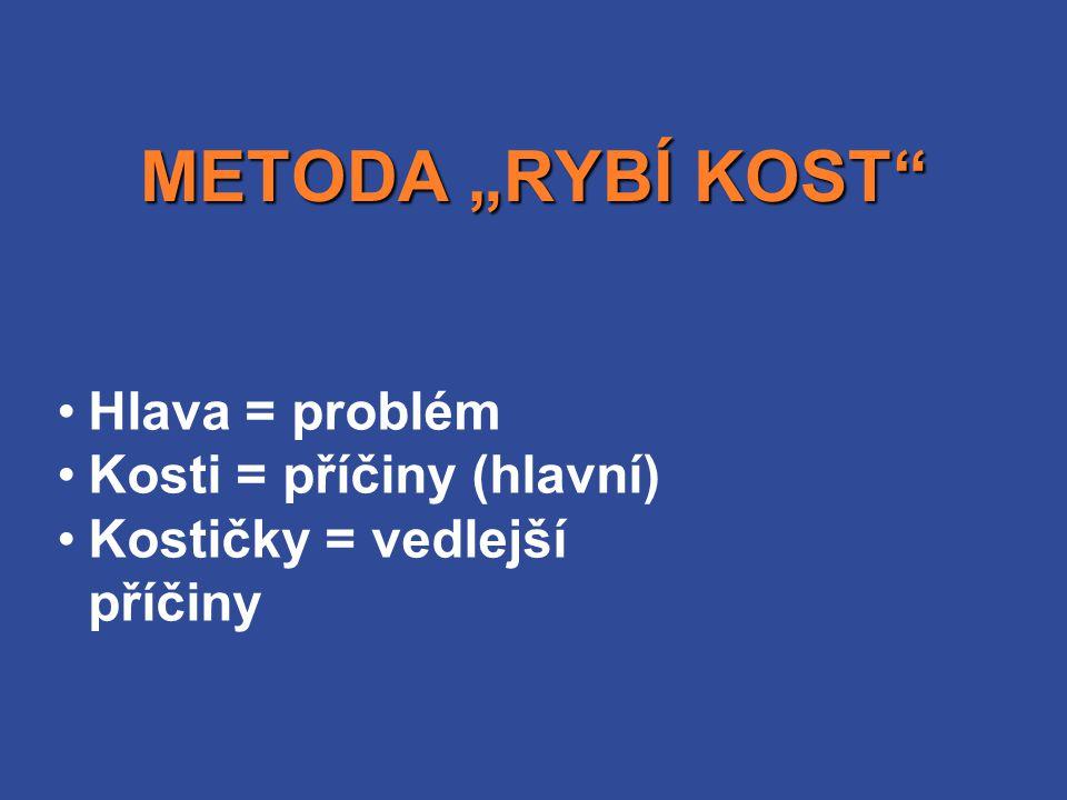 """Hlava = problém Kosti = příčiny (hlavní) Kostičky = vedlejší příčiny METODA """"RYBÍ KOST"""