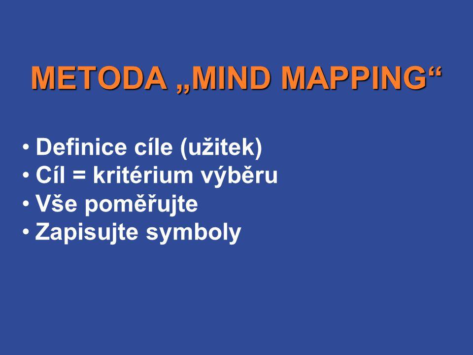 """Definice cíle (užitek) Cíl = kritérium výběru Vše poměřujte Zapisujte symboly METODA """"MIND MAPPING"""