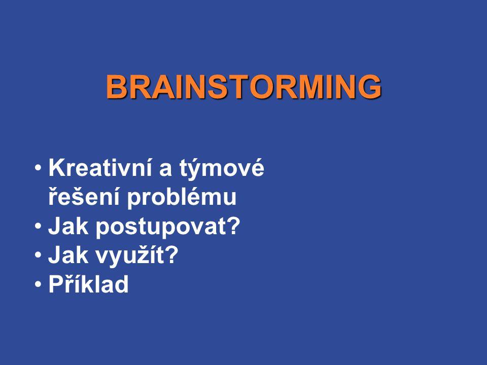 Kreativní a týmové řešení problému Jak postupovat? Jak využít? Příklad BRAINSTORMING
