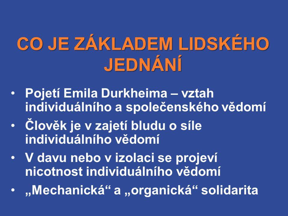 """CO JE ZÁKLADEM LIDSKÉHO JEDNÁNÍ Pojetí Emila Durkheima – vztah individuálního a společenského vědomí Člověk je v zajetí bludu o síle individuálního vědomí V davu nebo v izolaci se projeví nicotnost individuálního vědomí """"Mechanická a """"organická solidarita"""
