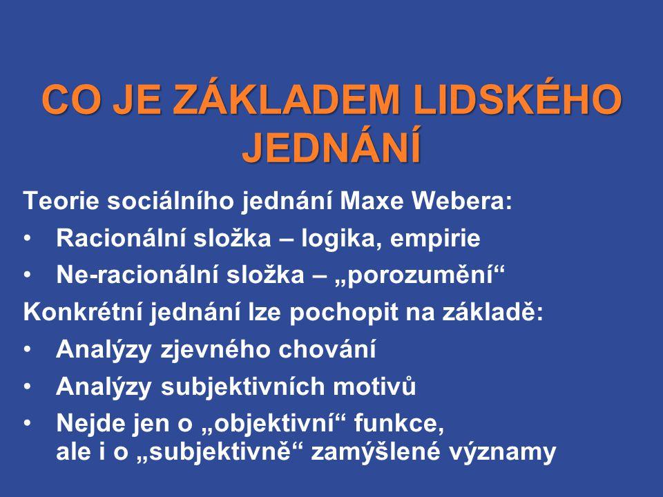 """CO JE ZÁKLADEM LIDSKÉHO JEDNÁNÍ Teorie sociálního jednání Maxe Webera: Racionální složka – logika, empirie Ne-racionální složka – """"porozumění Konkrétní jednání lze pochopit na základě: Analýzy zjevného chování Analýzy subjektivních motivů Nejde jen o """"objektivní funkce, ale i o """"subjektivně zamýšlené významy"""