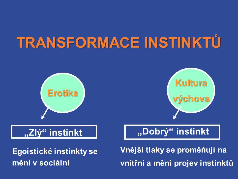 """TRANSFORMACE INSTINKTŮ """"Zlý instinkt Erotika Egoistické instinkty se mění v sociální """"Dobrý instinkt Kulturavýchova Vnější tlaky se proměňují na vnitřní a mění projev instinktů"""