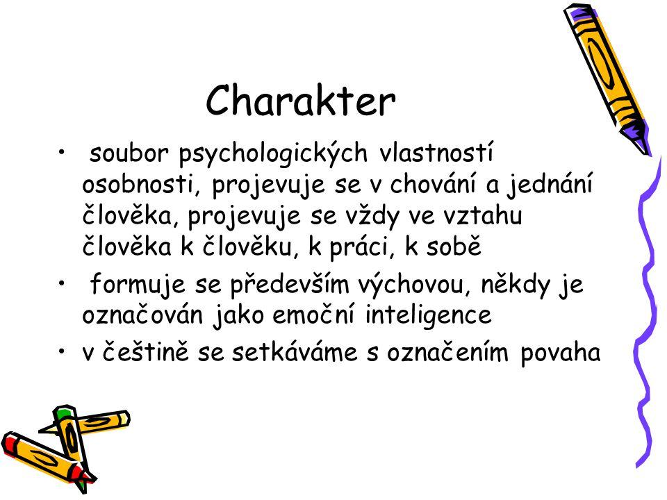 Charakter soubor psychologických vlastností osobnosti, projevuje se v chování a jednání člověka, projevuje se vždy ve vztahu člověka k člověku, k práci, k sobě formuje se především výchovou, někdy je označován jako emoční inteligence v češtině se setkáváme s označením povaha