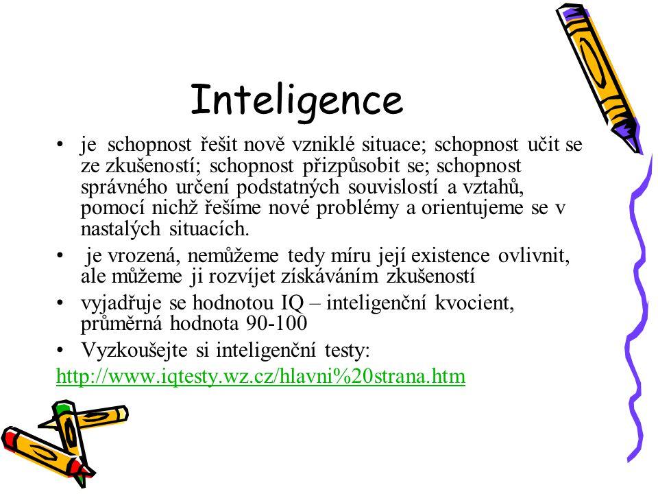 Inteligence je schopnost řešit nově vzniklé situace; schopnost učit se ze zkušeností; schopnost přizpůsobit se; schopnost správného určení podstatných souvislostí a vztahů, pomocí nichž řešíme nové problémy a orientujeme se v nastalých situacích.