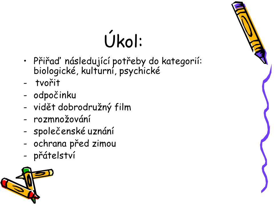 Úkol: Přiřaď následující potřeby do kategorií: biologické, kulturní, psychické - tvořit -odpočinku -vidět dobrodružný film -rozmnožování -společenské
