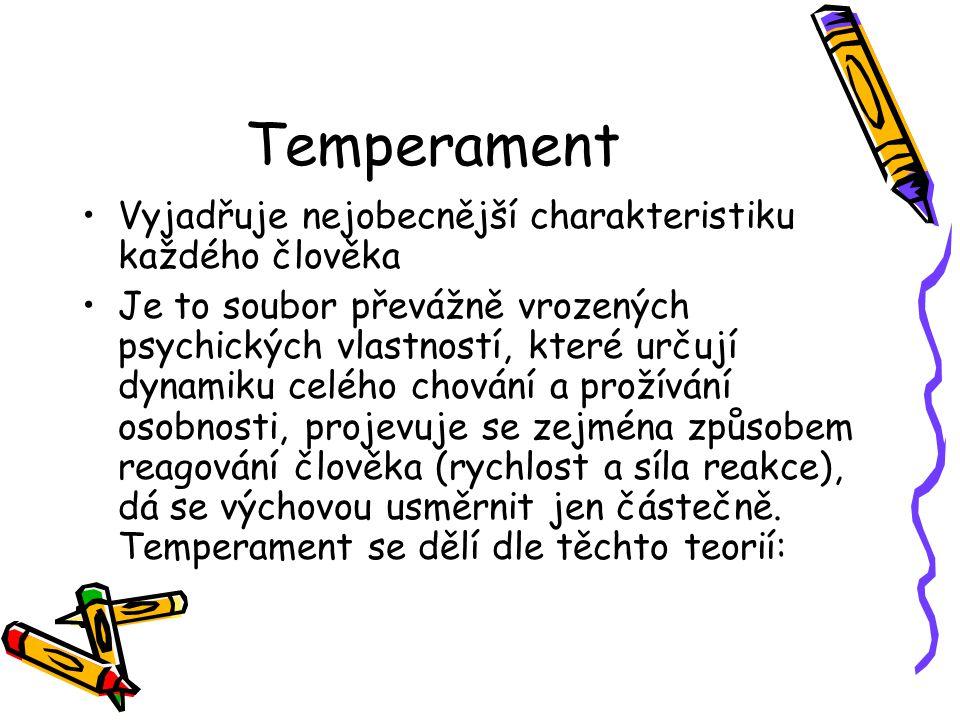 Temperament Vyjadřuje nejobecnější charakteristiku každého člověka Je to soubor převážně vrozených psychických vlastností, které určují dynamiku celého chování a prožívání osobnosti, projevuje se zejména způsobem reagování člověka (rychlost a síla reakce), dá se výchovou usměrnit jen částečně.