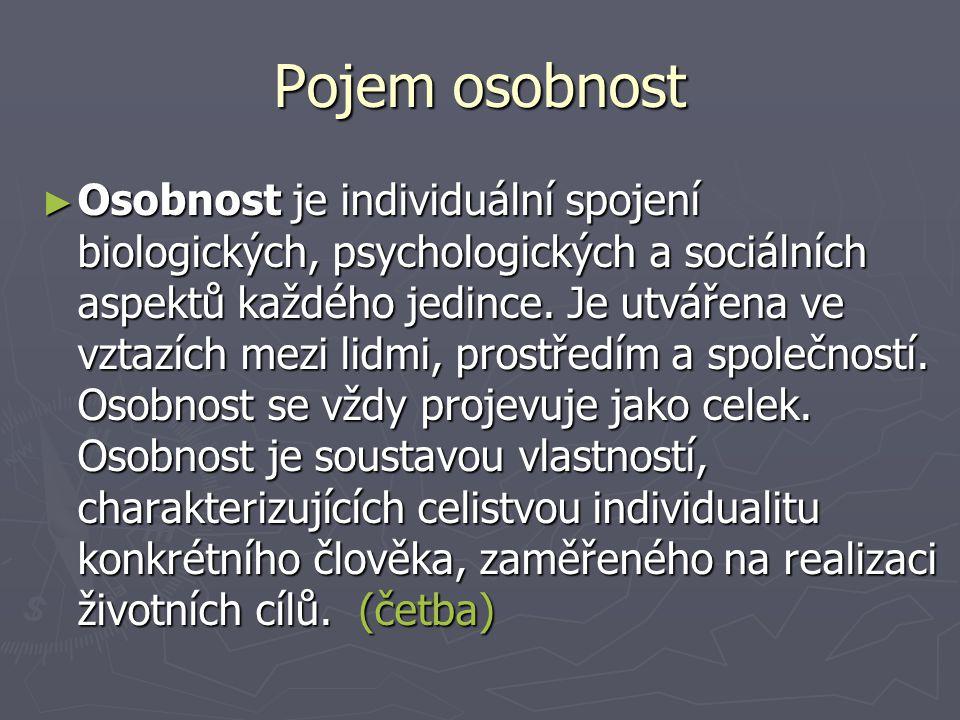 Pojem osobnost ► Osobnost je individuální spojení biologických, psychologických a sociálních aspektů každého jedince.