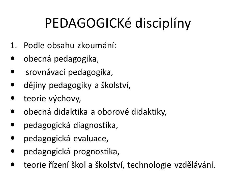 PEDAGOGICKé disciplíny 1.Podle obsahu zkoumání: obecná pedagogika, srovnávací pedagogika, dějiny pedagogiky a školství, teorie výchovy, obecná didakti