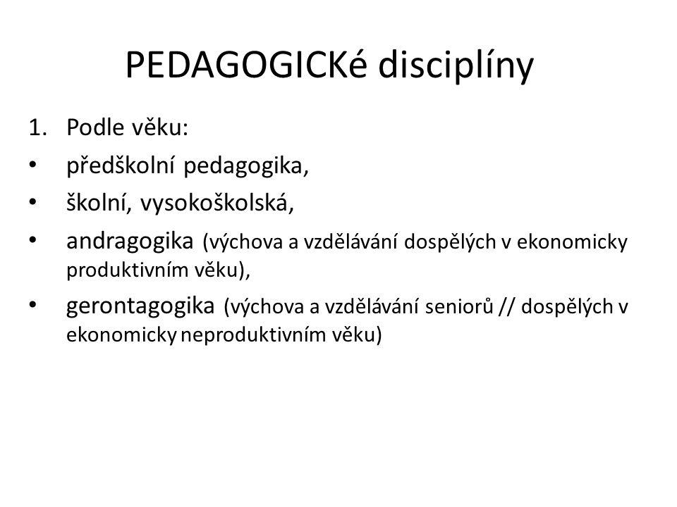 PEDAGOGICKé disciplíny 1.Podle věku: předškolní pedagogika, školní, vysokoškolská, andragogika (výchova a vzdělávání dospělých v ekonomicky produktivn