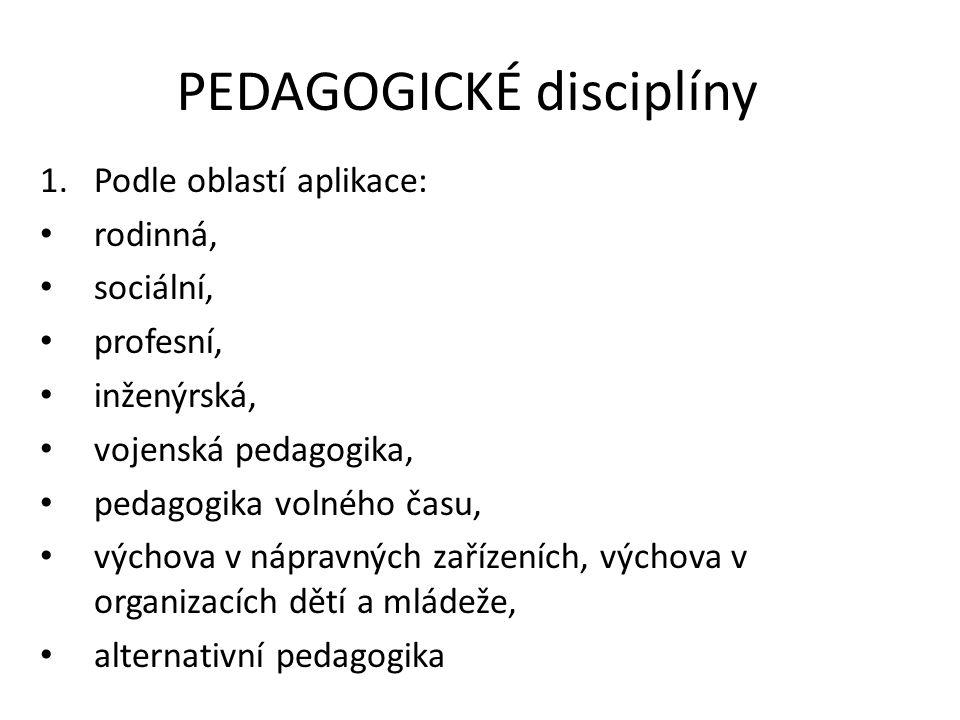 PEDAGOGICKÉ disciplíny 1.Podle oblastí aplikace: rodinná, sociální, profesní, inženýrská, vojenská pedagogika, pedagogika volného času, výchova v nápr