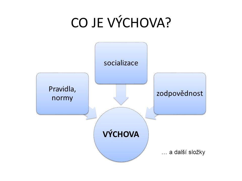 CO JE VÝCHOVA? VÝCHOVA Pravidla, normy socializacezodpovědnost … a další složky