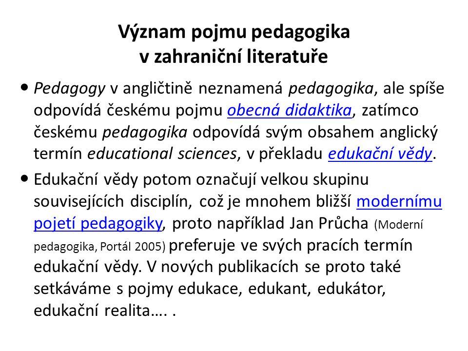 Význam pojmu pedagogika v zahraniční literatuře Pedagogy v angličtině neznamená pedagogika, ale spíše odpovídá českému pojmu obecná didaktika, zatímco