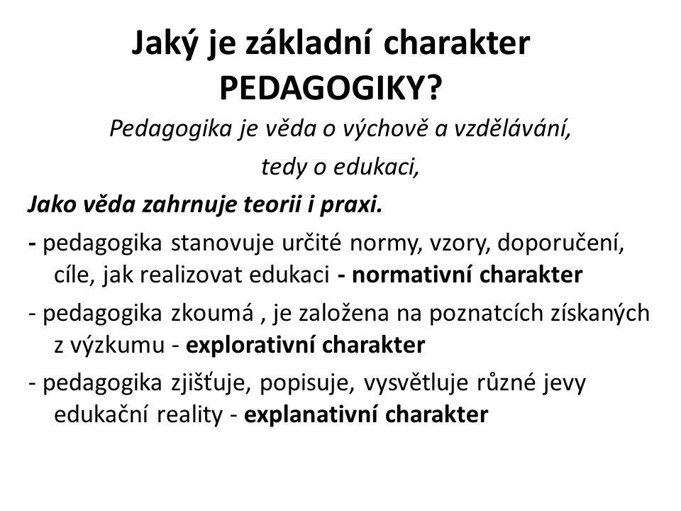 Jaký je základní charakter PEDAGOGIKY? Pedagogika je věda o výchově a vzdělávání, tedy o edukaci, Jako věda zahrnuje teorii i praxi. - pedagogika stan