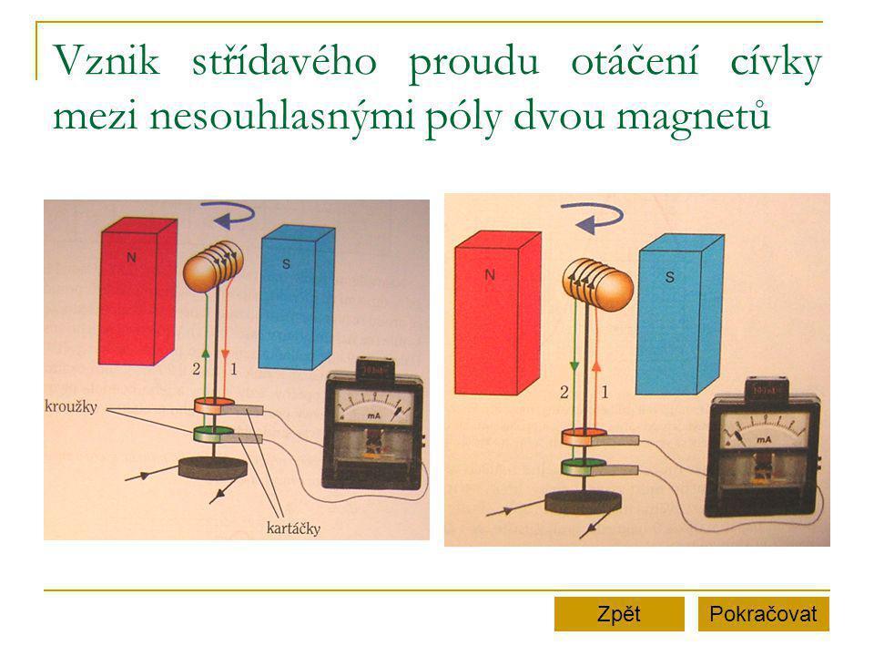 Vznik střídavého proudu otáčení cívky mezi nesouhlasnými póly dvou magnetů PokračovatZpět
