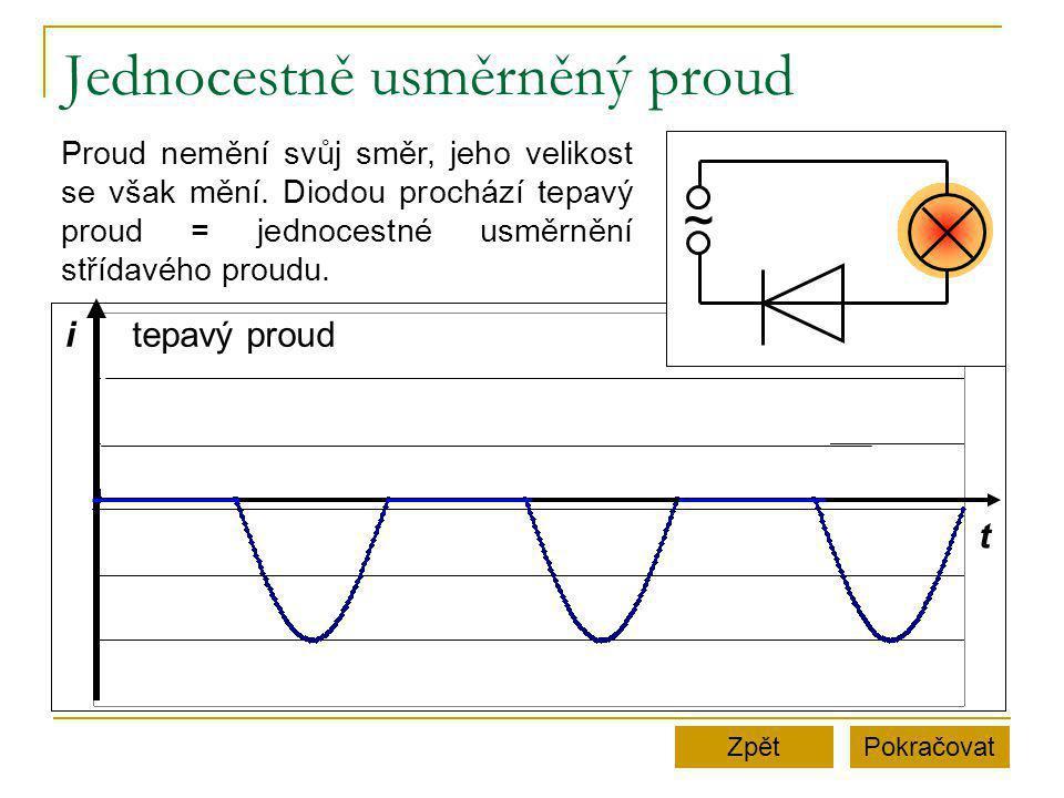 Jednocestně usměrněný proud PokračovatZpět t itepavý proud ~ Proud nemění svůj směr, jeho velikost se však mění.