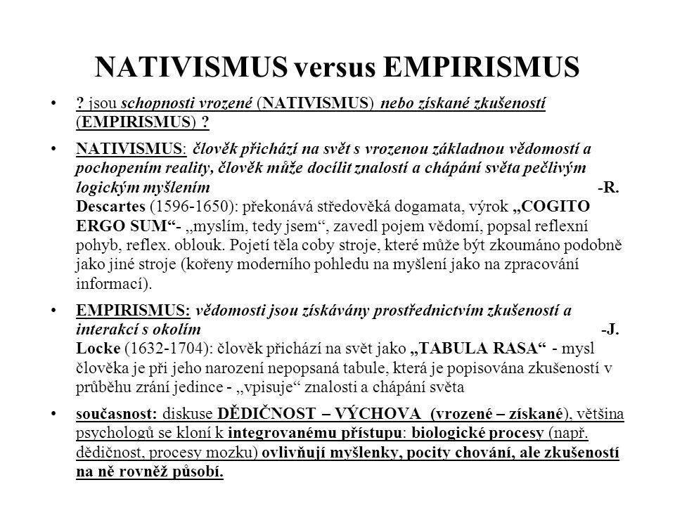 NATIVISMUS versus EMPIRISMUS ? jsou schopnosti vrozené (NATIVISMUS) nebo získané zkušeností (EMPIRISMUS) ? NATIVISMUS: člověk přichází na svět s vroze