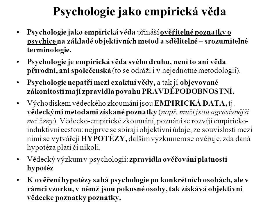 Psychologie jako empirická věda Psychologie jako empirická věda přináší ověřitelné poznatky o psychice na základě objektivních metod a sdělitelné – sr
