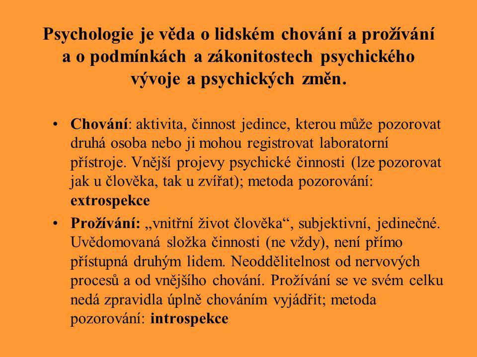 Chování: aktivita, činnost jedince, kterou může pozorovat druhá osoba nebo ji mohou registrovat laboratorní přístroje. Vnější projevy psychické činnos