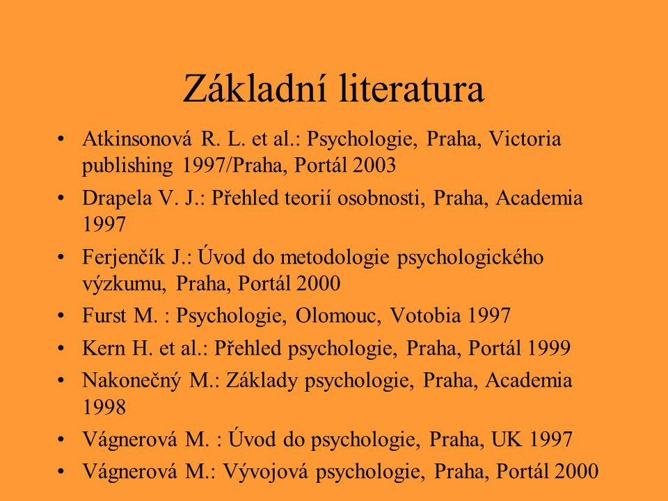 Základní literatura Atkinsonová R. L. et al.: Psychologie, Praha, Victoria publishing 1997/Praha, Portál 2003 Drapela V. J.: Přehled teorií osobnosti,