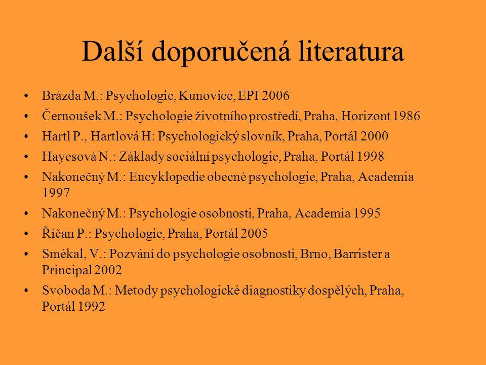Další doporučená literatura Brázda M.: Psychologie, Kunovice, EPI 2006 Černoušek M.: Psychologie životního prostředí, Praha, Horizont 1986 Hartl P., H