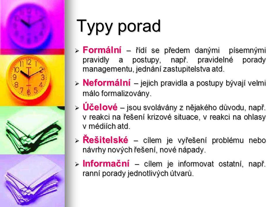 Typy porad  Formální – řídí se předem danými písemnými pravidly a postupy, např. pravidelné porady managementu, jednání zastupitelstva atd.  Neformá