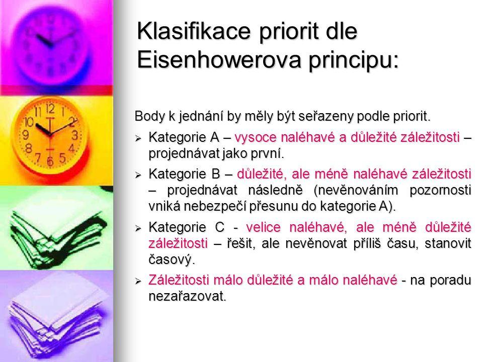 Klasifikace priorit dle Eisenhowerova principu: Body k jednání by měly být seřazeny podle priorit.  Kategorie A – vysoce naléhavé a důležité záležito