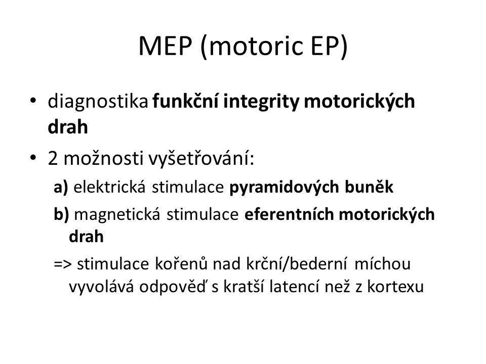 MEP (motoric EP) diagnostika funkční integrity motorických drah 2 možnosti vyšetřování: a) elektrická stimulace pyramidových buněk b) magnetická stimu