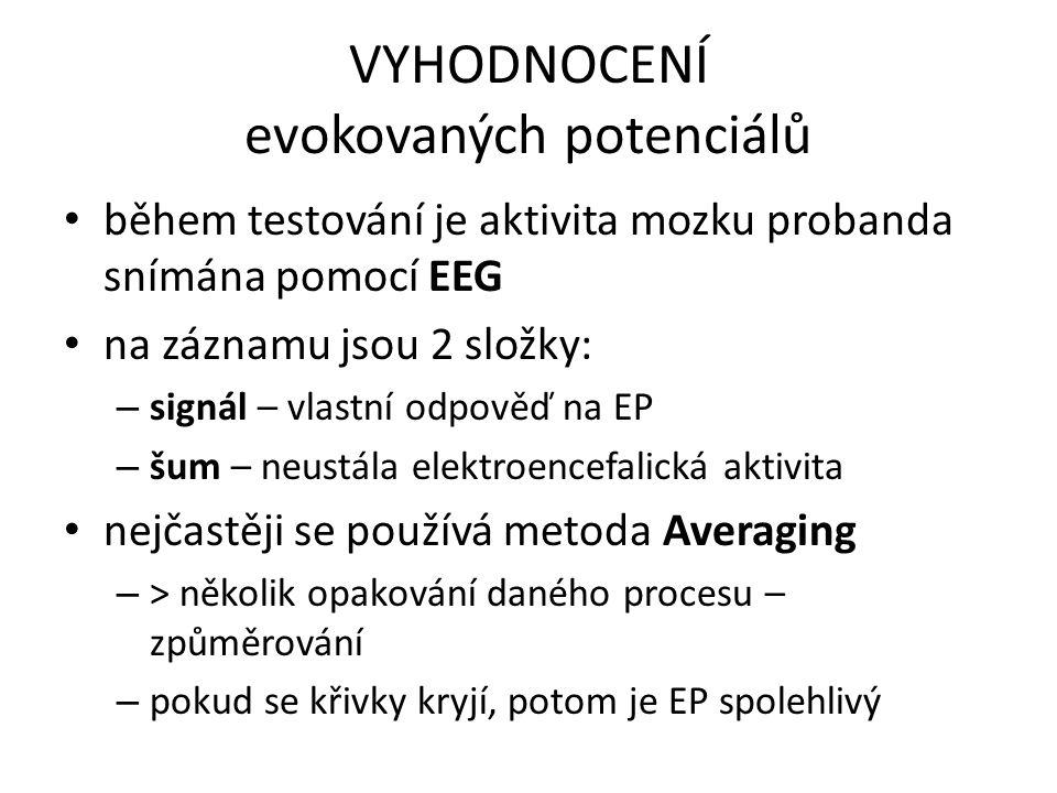 VYHODNOCENÍ evokovaných potenciálů během testování je aktivita mozku probanda snímána pomocí EEG na záznamu jsou 2 složky: – signál – vlastní odpověď