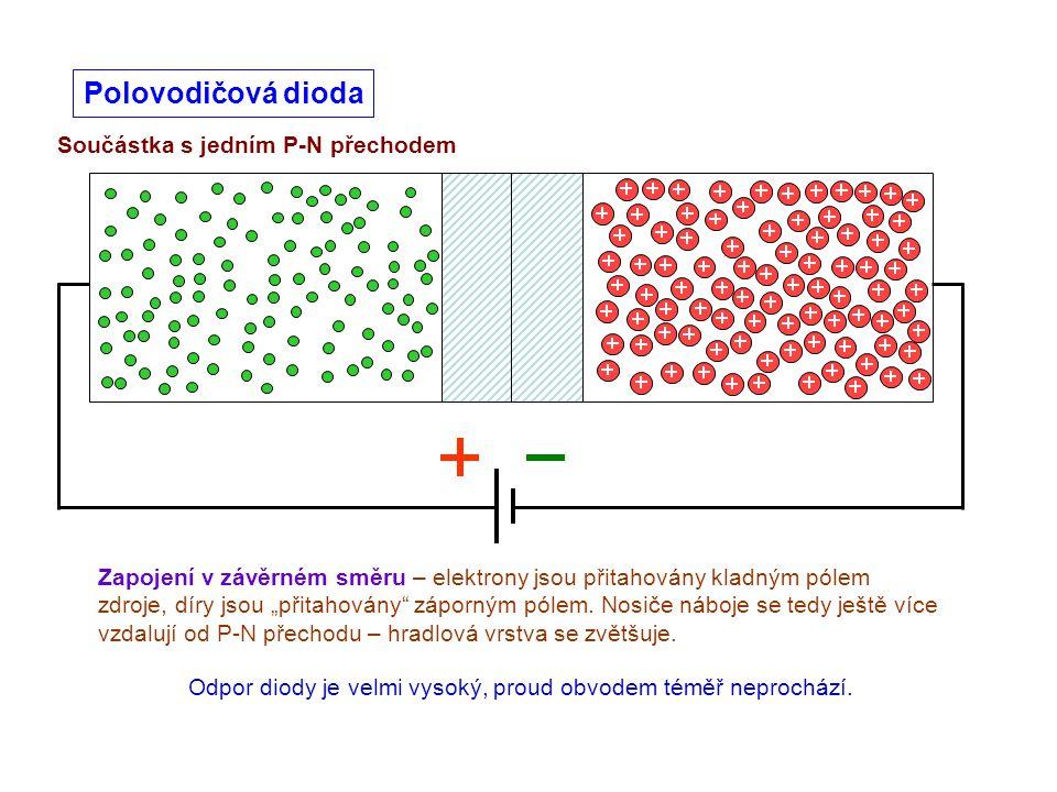 """Součástka s jedním P-N přechodem Polovodičová dioda Zapojení v závěrném směru – elektrony jsou přitahovány kladným pólem zdroje, díry jsou """"přitahován"""
