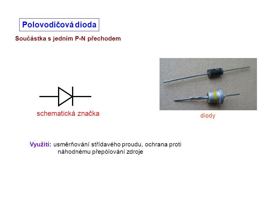 Součástka s jedním P-N přechodem Polovodičová dioda diody Využití: usměrňování střídavého proudu, ochrana proti náhodnému přepólování zdroje schematic