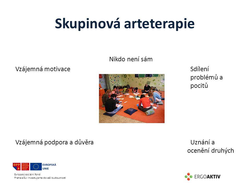 Evropský sociální fond Praha a EU: Investujeme do vaší budoucnosti Skupinová arteterapie Nikdo není sám Vzájemná motivace Sdílení problémů a pocitů Vz