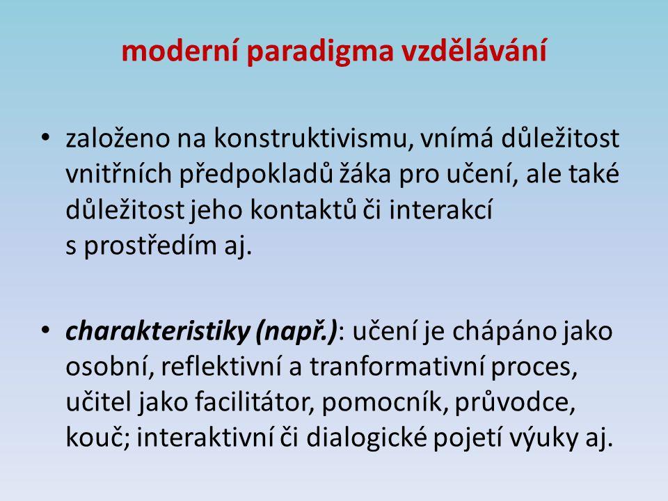 moderní paradigma vzdělávání založeno na konstruktivismu, vnímá důležitost vnitřních předpokladů žáka pro učení, ale také důležitost jeho kontaktů či interakcí s prostředím aj.
