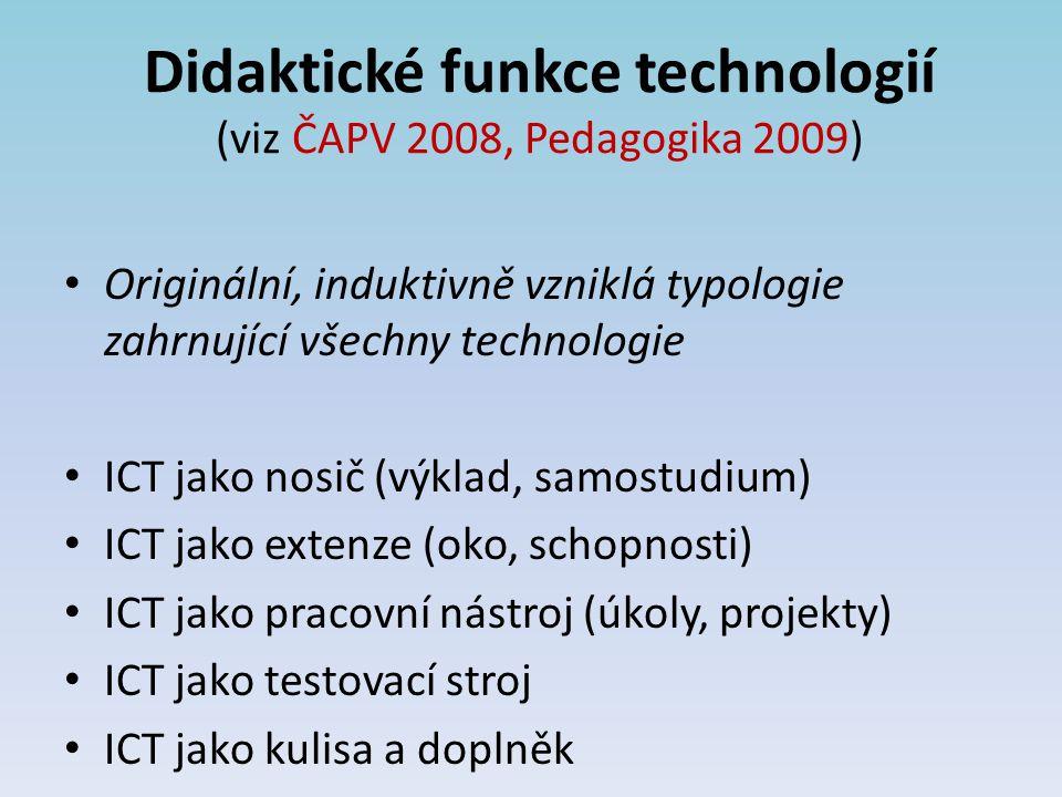 Didaktické funkce technologií (viz ČAPV 2008, Pedagogika 2009) Originální, induktivně vzniklá typologie zahrnující všechny technologie ICT jako nosič (výklad, samostudium) ICT jako extenze (oko, schopnosti) ICT jako pracovní nástroj (úkoly, projekty) ICT jako testovací stroj ICT jako kulisa a doplněk