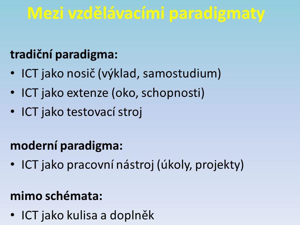 Mezi vzdělávacími paradigmaty tradiční paradigma: ICT jako nosič (výklad, samostudium) ICT jako extenze (oko, schopnosti) ICT jako testovací stroj mod