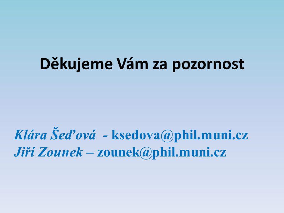 Děkujeme Vám za pozornost Klára Šeďová - ksedova@phil.muni.cz Jiří Zounek – zounek@phil.muni.cz