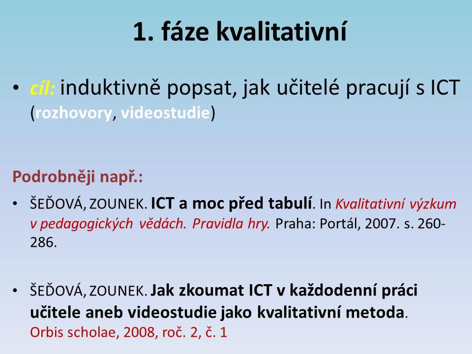 1. fáze kvalitativní cíl: induktivně popsat, jak učitelé pracují s ICT (rozhovory, videostudie) Podrobněji např.: ŠEĎOVÁ, ZOUNEK. ICT a moc před tabul